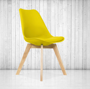 Yellow Dining Chair, Scandi Style, Wood Base, Colours+ - kitchen
