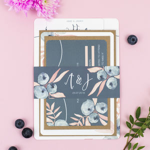 Berry Blush Wedding Stationery Sample Pack - save the date cards