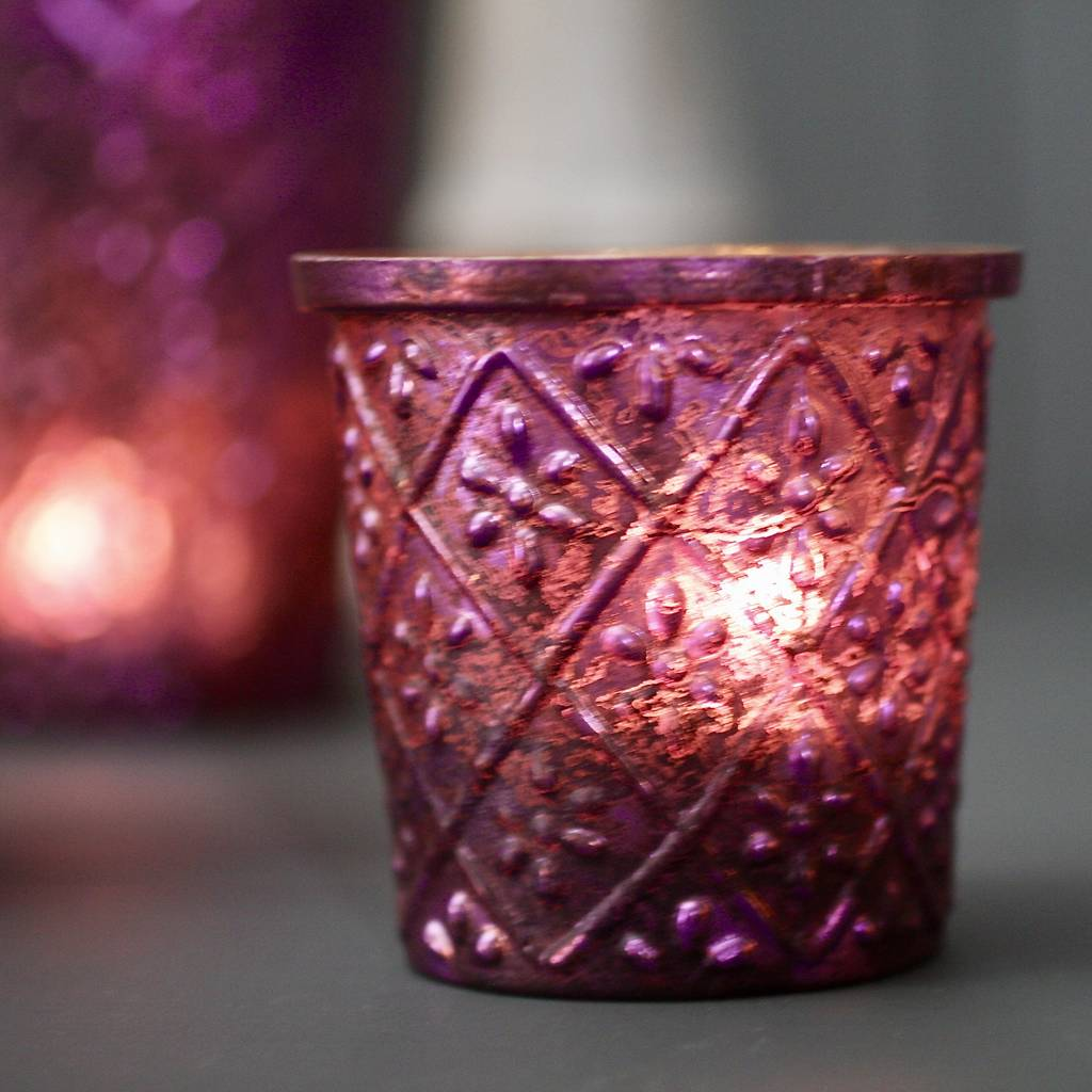 three purple votives by london garden trading | notonthehighstreet.com