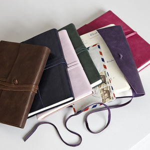 Personalised Leather Journal With Tie - travel journals & diaries
