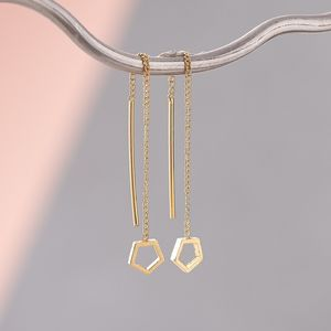 Hexagon Chain Earrings - threader earrings
