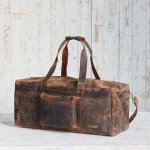 Personalised Buffalo Leather Duffle Bag - luggage