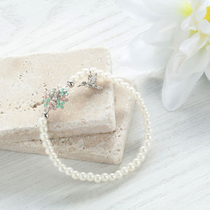 Flower And Bird Pearl Bracelet - bracelets & bangles