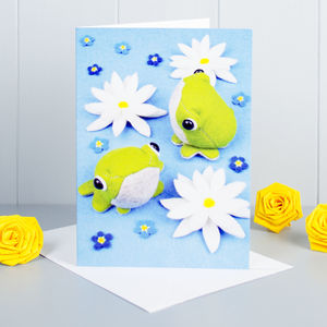 Frogs And Lilies Greeting Card