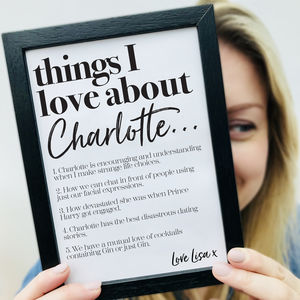 Personalised 'Things We Love About' Our Friend Print - typography