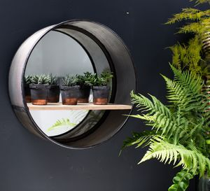 Large Industrial Round Mirror With Shelf - living room