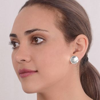 Round Textured Clip On Sterling Silver Earrings