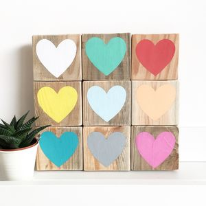Reclaimed Wood Heart Mosaic Sign - modern & abstract