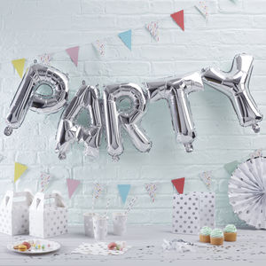 Silver Foiled Party Balloon Bunting Garland - decoration
