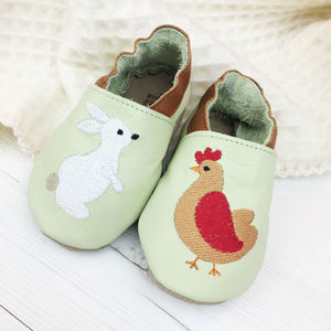 Personalised Hen And Rabbit Baby Shoes