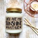 Personalised 'You Are My Sunshine' Scented Soy Candle