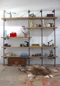 Nathan Reclaimed Timber And Pipe Industrial Shelves - living room