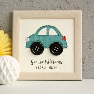 Personalised Car Embroidered Plaque - mixed media & collage