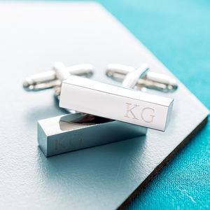 Personalised Initial Bar Cufflinks - gifts for him