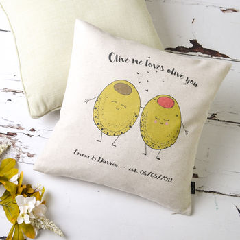 'Olive Me Loves Olive You' Personalised Cushion Cover