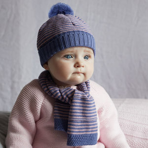 Baby Girl Bobble Hat And Scarf Set