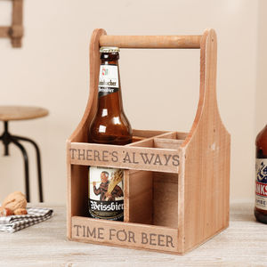 Personalised Wooden Time For Beer Bottle Carrier