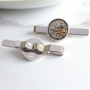 Personalised Vintage Watch Movement Tie Bar