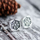 Square Silver Snowflake Earrings