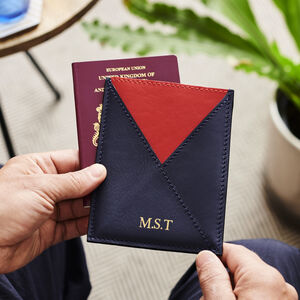 Personalised Leather Envelope Passport Holder