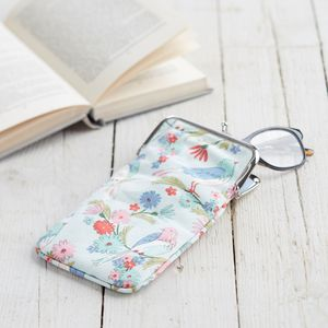 Illustrated Bird Glasses Case