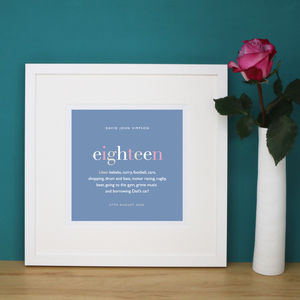 Personalised 18th Birthday Print And Mount