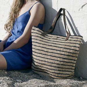 'St Ives' Hand Crocheted Raffia Stripe Shoulder Tote - winter sale