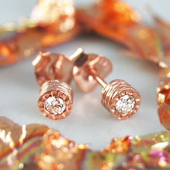 April Birthstone Genuine Diamond Rose Gold Earrings
