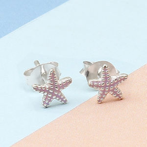 Girl's Tiny Sterling Silver Starfish Earrings