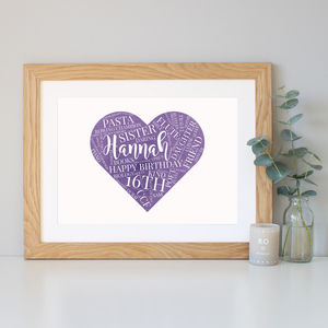 Personalised Watercolour 16th Birthday Gift - family & home