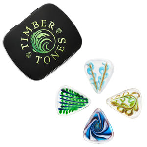 Glass Guitar Picks / Plectrums In A Gift Tin