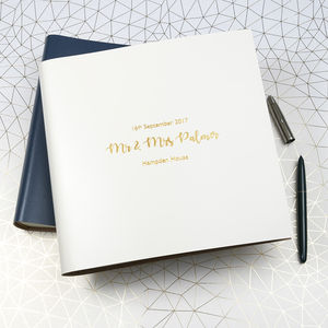 Personalised Large Leather Wedding Guest Book - albums & guest books