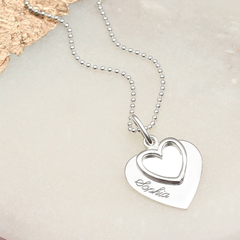 c40e6d7f71 personalised sterling silver double heart name necklace by ...