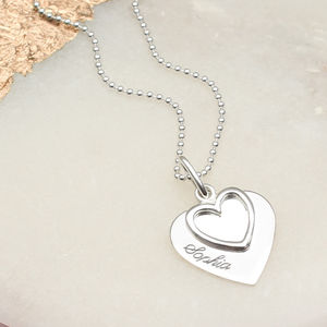 Personalised Sterling Silver Double Heart Name Necklace