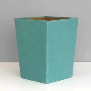 Recycled Leather Effect Waste Paper Bin Aqua - what's new
