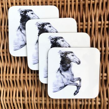 Horse Drawing Coasters | Horse Decor | Horse Gifts
