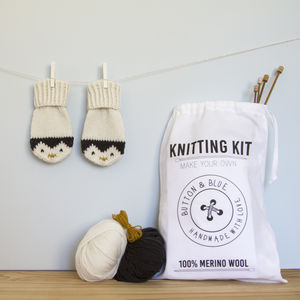 Penguin Mittens Knitting Kit - shop by price