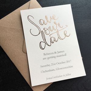 Rose Gold Foil Save Our Date Postcard - invitations