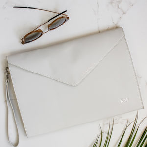 Personalised Initial Metallic Envelope Clutch Bag - heartfelt gifts for her