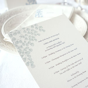 Fern Order Of The Day - wedding stationery