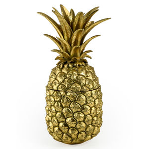 Antique Gold Pineapple Storage Pot