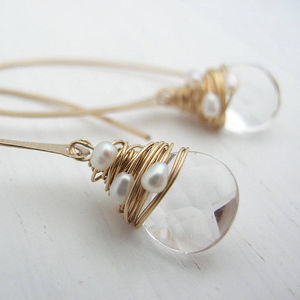 Crystal And Pearl Hoop Earrings - new lines added