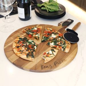 Personalised Pizza Cutter And Serving Board Set - free delivery gifts to mainland UK