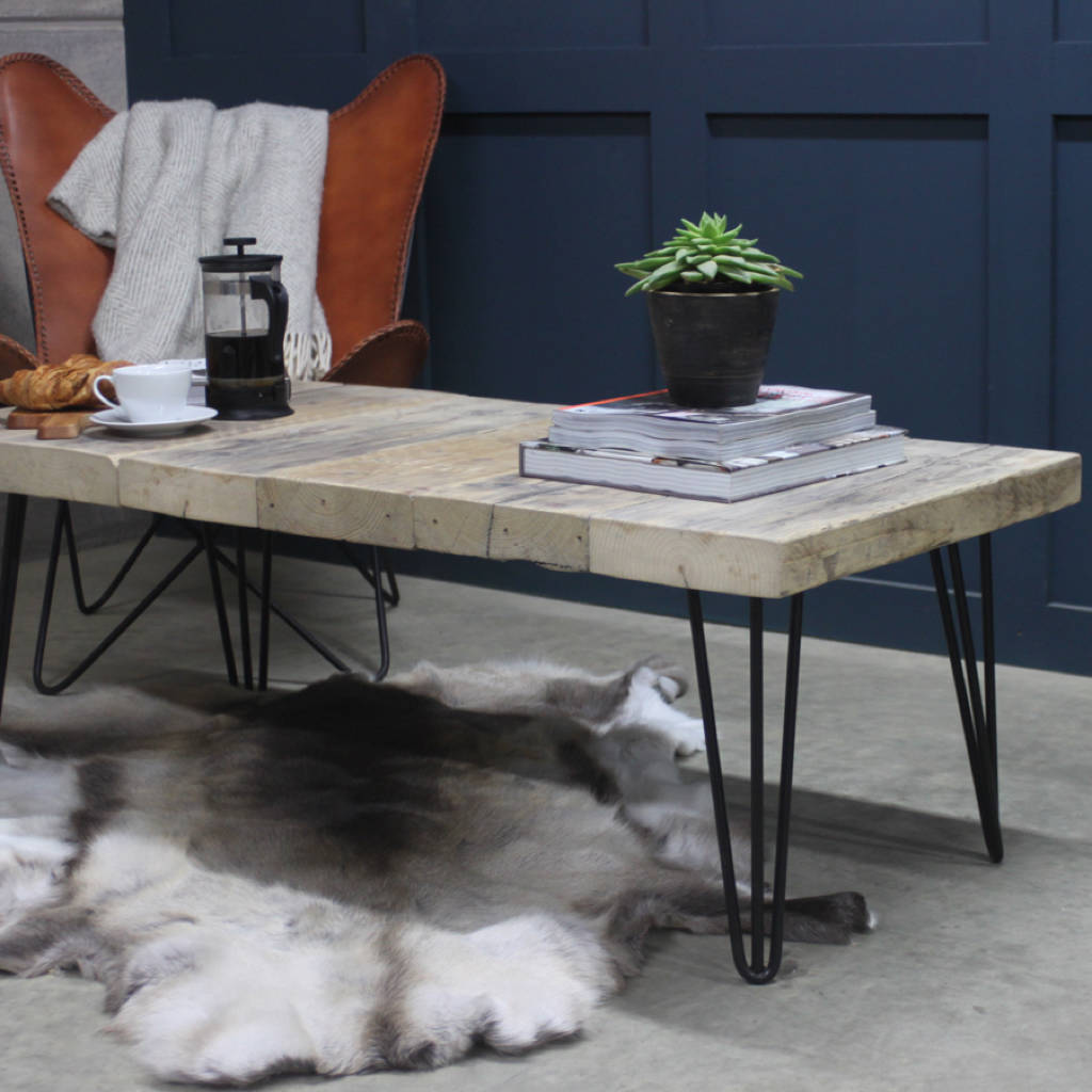 Round Wood Hairpin Coffee Table: East West Reclaimed Coffee Table With Hairpin Legs By Rust