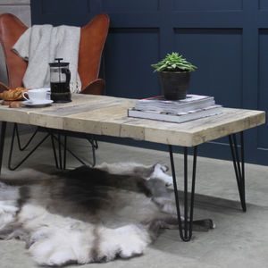East West Reclaimed Coffee Table With Hairpin Legs - furniture