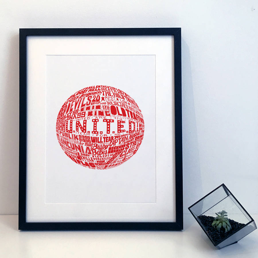 Manchester United Football Typography Print