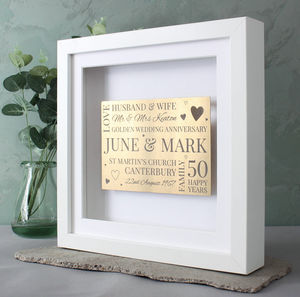 Golden Anniversary 3D Memory Frame - dates & special occasions