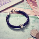 Traveller Keepsafe Personalised Leather Bracelet