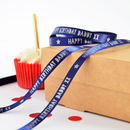 Navy 10mm personalised birthday ribbon with matt silver print