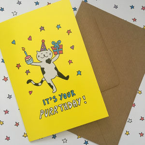 Cute Cat Birthday Card - shop by category